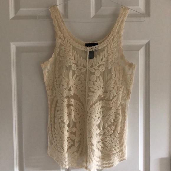 Cynthia Rowley Tops - Cream colored lace sheer women's tank top